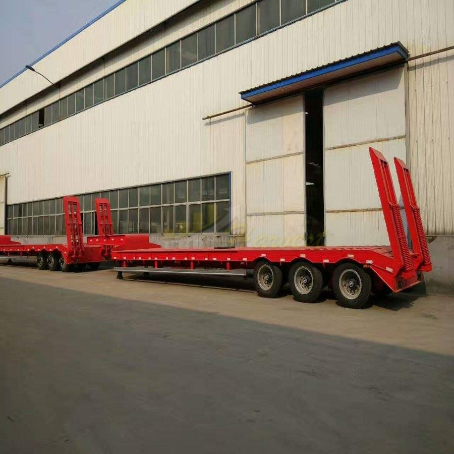 Heavy Machine Carrier Tri-Axle Lowbed Semi Trailer 60 Tons