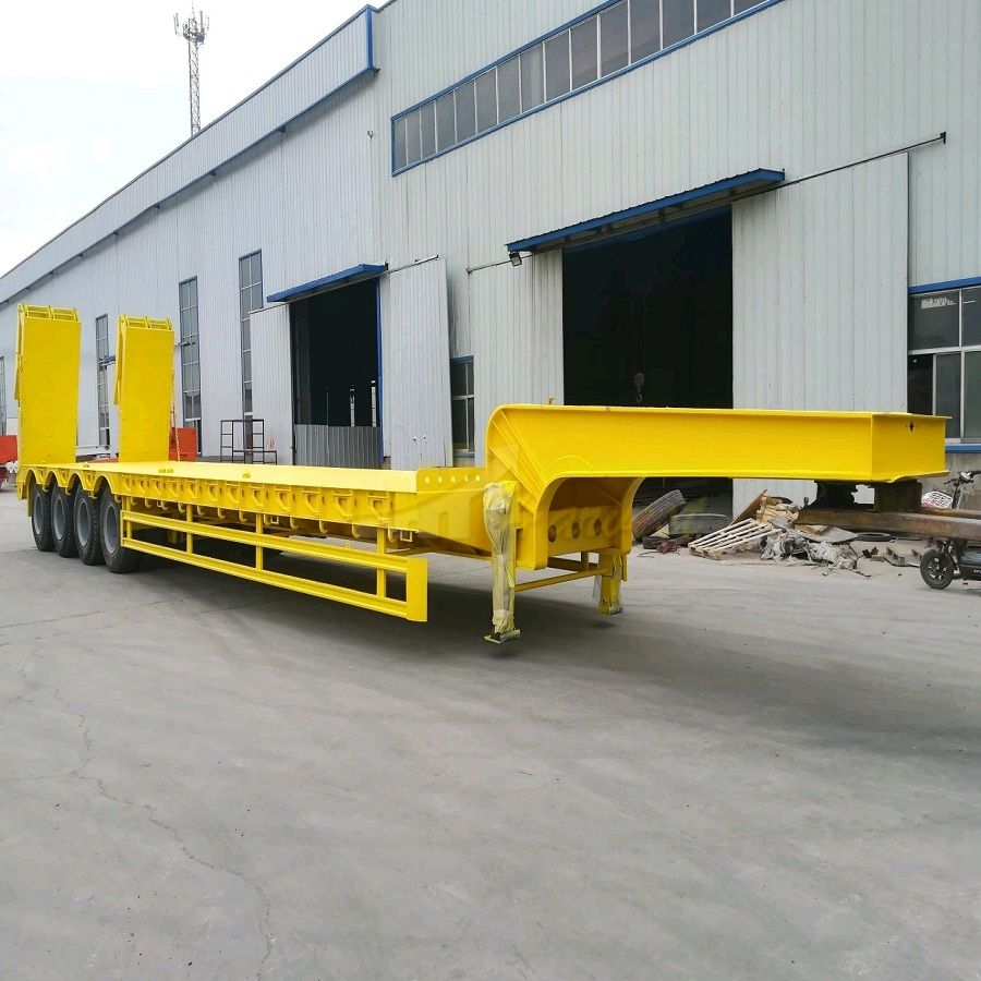4 Axles 45-60 Tons Lowbed Heavy Duty Transport Heavy Equipment Semi Trailer